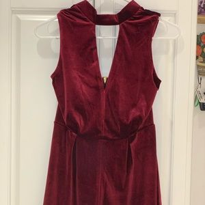 Wine Velvet Romper with Lace